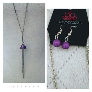 🚨2/$10🚨Long Necklace w Purple Pendant & Earrings