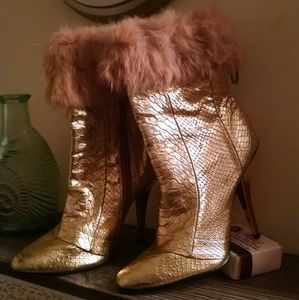 Gold snakeskin fur cuffed ankle boots