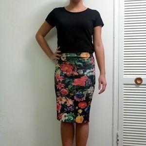 Scuba pencil floral skirt