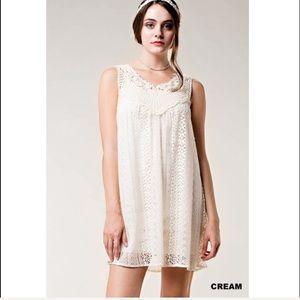 Dresses & Skirts - Cream Crochet Mini Dress