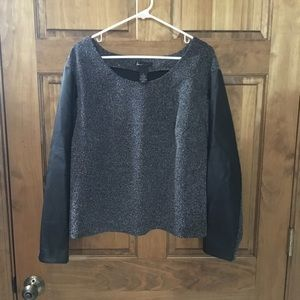 Lane Bryant! Gray leather sleeves trendy sweater!