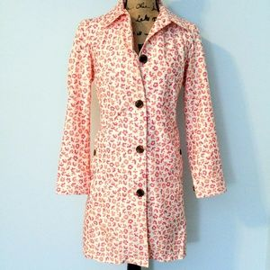 Lands' End Pink & Coral Flower Trench Coat XS