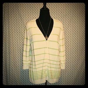 Ivory & Lime Green Striped Cardigan