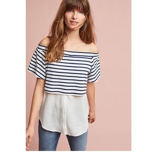 Anthropologie Off The Shoulder Layered Tunic