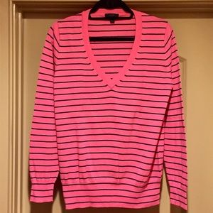 JCrew Striped V Neck Sweater
