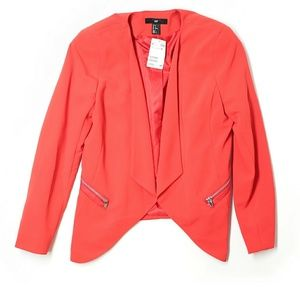 H&M Orange-Red Fitted Blazer w aymmetrical front