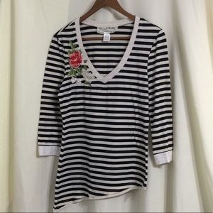 Anthro Nick & Mo striped floral embroidery shirt