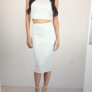 TOBI Winter White Sequin Pencil Skirt