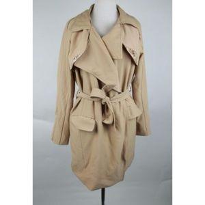 Khaki Tan Trench Coat with Tie Waist
