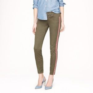 J. Crew Toothpick Olive Ankle Pants in Tux Stripe