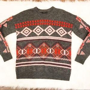 J. CREW Aztec Print Crewneck Pullover Sweater