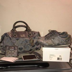 Huge 3pc Coach lot! Grey purse, sneakers & wallet