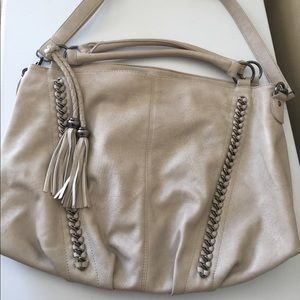 Melie Blanco Cream Colored Bag with Tassels