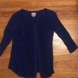 Maeve Anthropologie 6 blue lace top