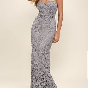 Lulu's grey lace formal gown, worn once