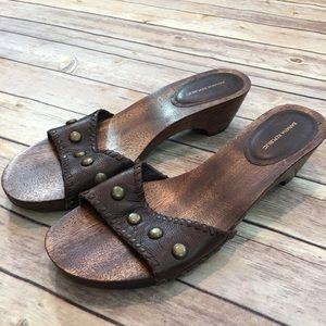 🌳Sz 10 Banana Republic Wood Open Toe Clog Sandal