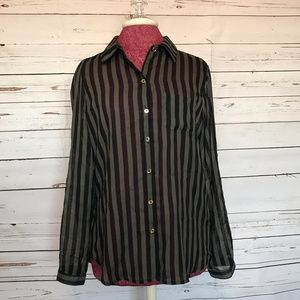 Striped Sheer Button-Up