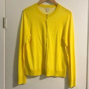 JCrew Factory Yellow Polka Dot Clare Cardigan