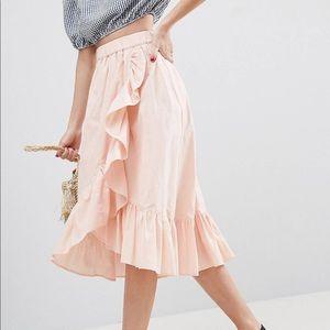 Pink ruffled Midi Skirt