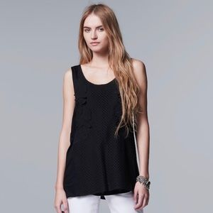 Simply Vera Vera Wang Applique Black Tank Top NWT