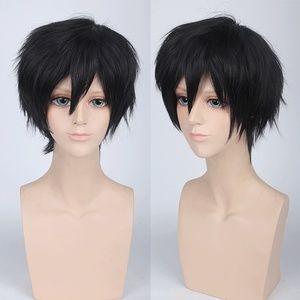 Short Spiky Black Anime Cosplay Wig, NEW!
