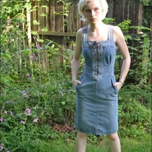 Marc JACOBS Denim Lace Up Dress Sleeveless Dress