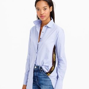 JCREW Sequin Side Stripe Button Down Shirt Sz 4 S