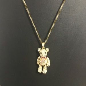 Accessories - Faux Gold Teddy Bear necklace with pink bow!