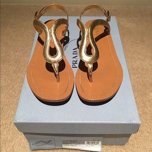 Prada Metallic Leather Thong Sandal