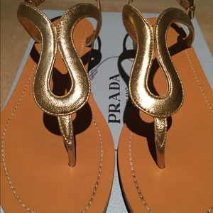 6c4f2c2cc2f8ea Prada Shoes - Prada Metallic Leather Thong Sandal
