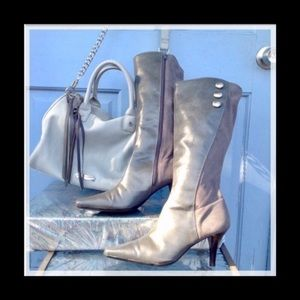 💖NWOB 💯% LEATHER/SUEDE GREY BOOTS W/HEELS (8)💖