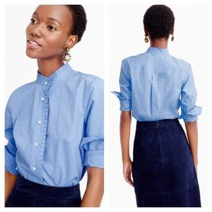 J.Crew Ruffle Button-Up Shirt Blue Cotton Size 2