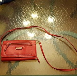 Handbags - Red & Gold Clutch Multi Pocket Crossbody Bag