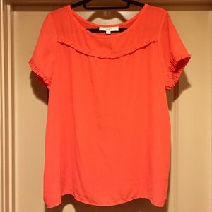 Coral Top with Ruffle Front