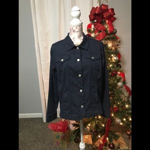 Stretchy jean jacket blue with white dots