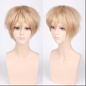 Short Spiky Flax Blond Anime Cosplay Wig, NEW!