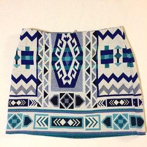H&M Blue Aztec Skirt