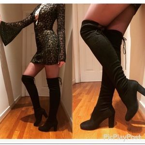 Chinese Laundry Over the Knee block heel boots