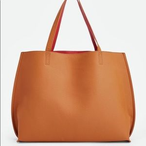 JustFab Ace Reversible Tote in Cognac/Red