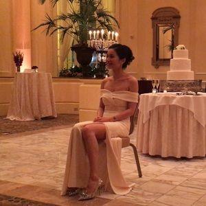 Dresses & Skirts - Off the shoulder side split ivory prom dress