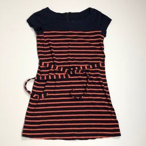 Merona Navy And Coral Striped Dress