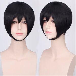 Short Black Face-Framing Anime Cosplay Wig, NEW!
