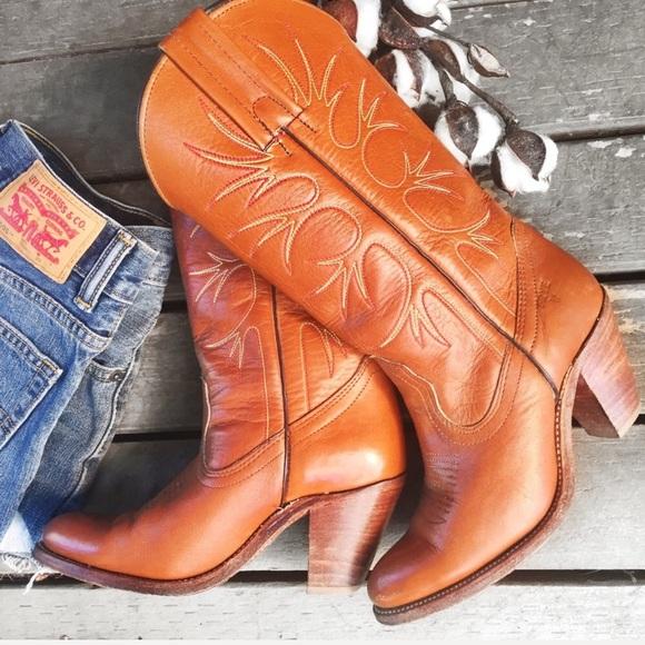 dc3244c6a80 Frye Shoes | 70s Vintage Cognac Western Cowgirl Boots 6 | Poshmark