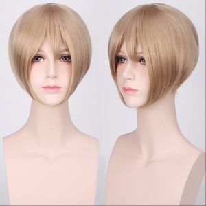 Short Flax Blond Face-Framing Cosplay Wig, NEW!
