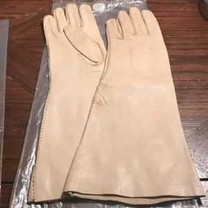 "Vintage American Glacé 14"" long cream dress gloves"
