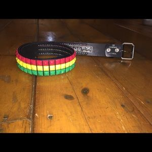Rasta studded belt
