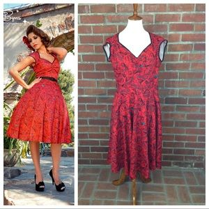 Pinup Couture Heidi Dress Vintage Spanish Fan XL