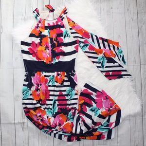 Eliza J Floral Print Halter Maxi Dress size 12