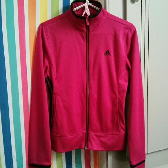 7ebeaa734 adidas Jackets & Coats | Berry Pink Black Zip Front Jacket | Poshmark