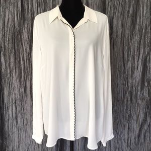 NWT LOFT Ivory Blouse with Black Scallop Trim